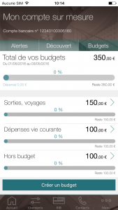 Application mobile BforBank, gestion de budget