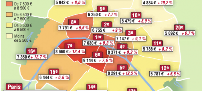 Carte des prix loyer à Paris
